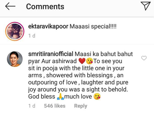 Ekta Kapoor shares a glimpse of her son Ravie Kapoor as 'maasi' Smriti Irani pays a visit to meet him