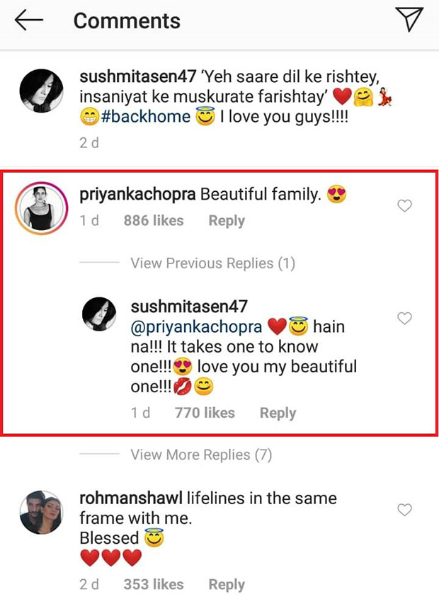 Priyanka Chopra and Sushmita Sen showcase their love for each other on Instagram