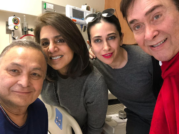 Karisma Kapoor and Randhir Kapoor pay a surprise visit to Rishi Kapoor and Neetu Kapoor in New York