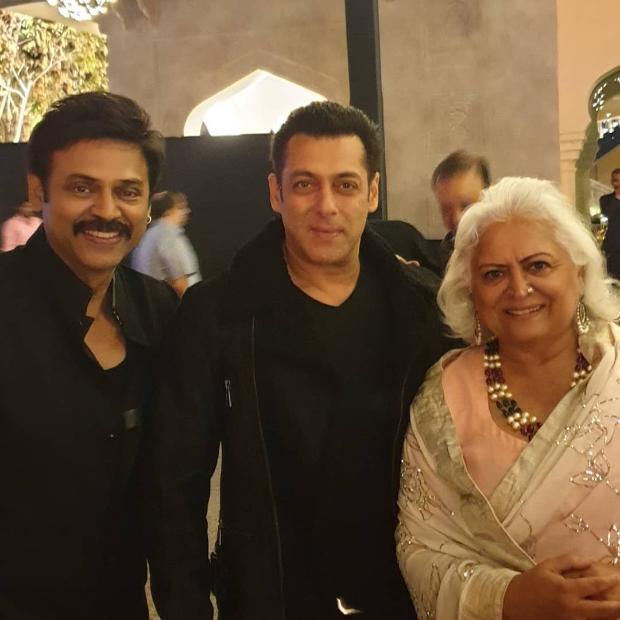 Salman Khan, South stars Rana Daggubati and Venkatesh strike a pose at Aashritha Daggubati's wedding in Jaipur