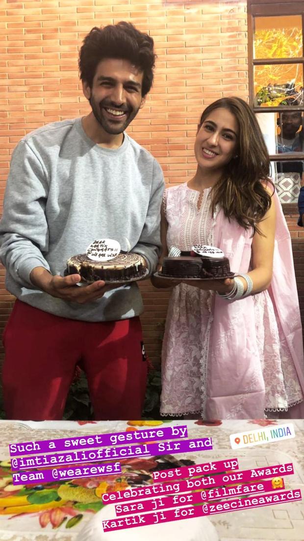 Sara Ali Khan and Kartik Aaryan celebrate their Filmfare Awards and Zee Cine Awards win on Imtiaz Ali's film set