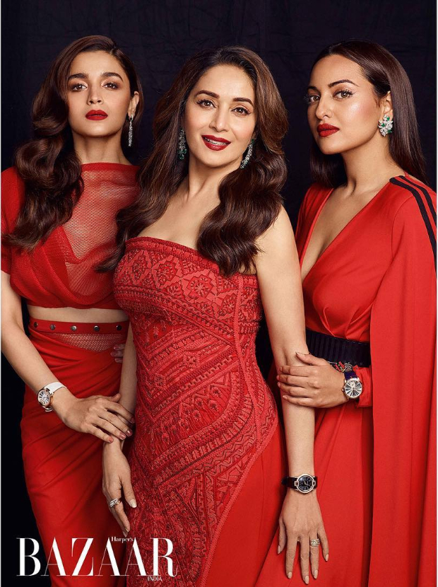 Women of Kalank Alia Bhatt, Madhuri Dixit and Sonakshi Sinha are ETHEREAL and ENCHANTING on Harper's Bazaar cover