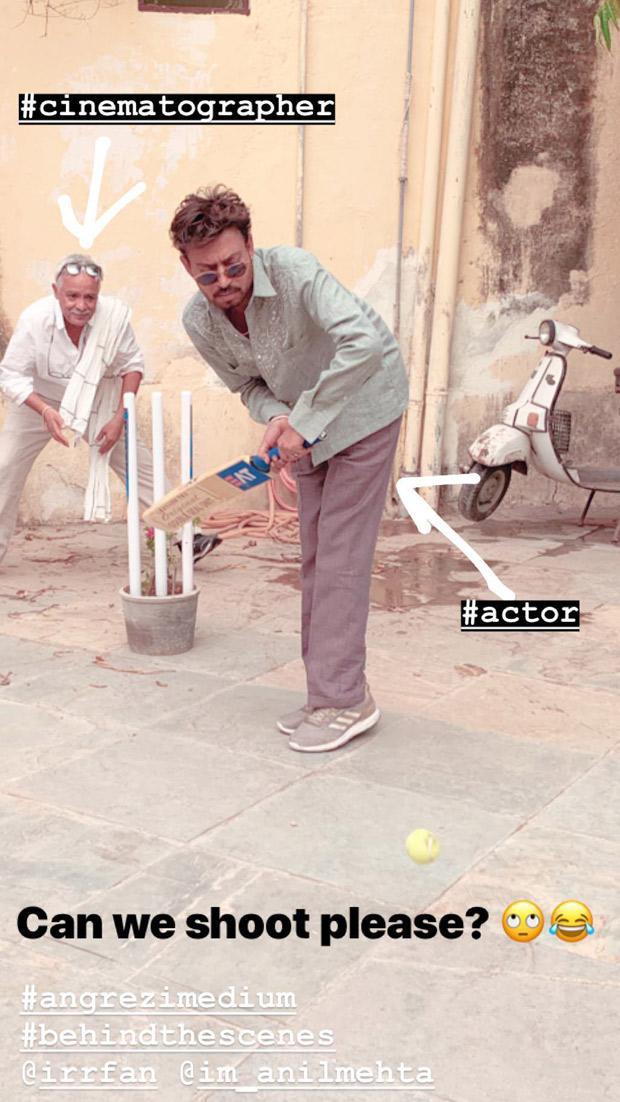 Woah! Irrfan Khan playing cricket on the sets of Angrezi Medium will definitely make you smile