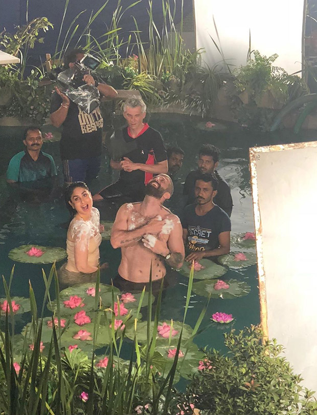 Kareena Kapoor Khan shows her goofy side whilst shooting a bathing scene for a soap brand
