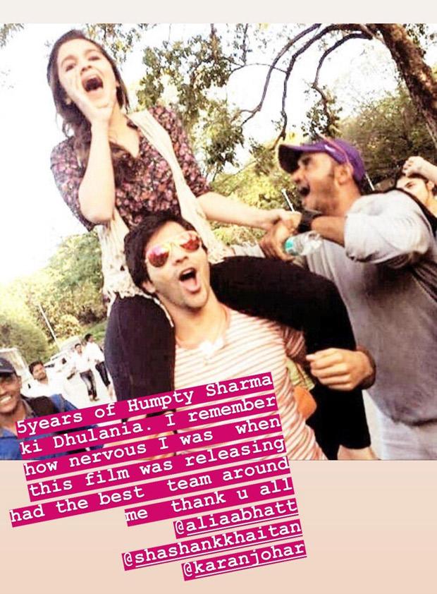 Humpty Sharma Ki Dulhania: Varun Dhawan and Alia Bhatt celebrate 5 years of the film's release!