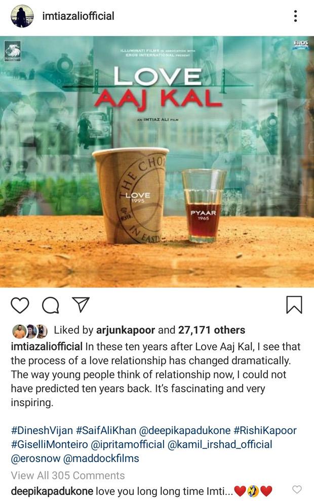 10 Years Of Love Aaj Kal Deepika Padukone leaves a lovely message on Imtiaz Ali's heartwarming post