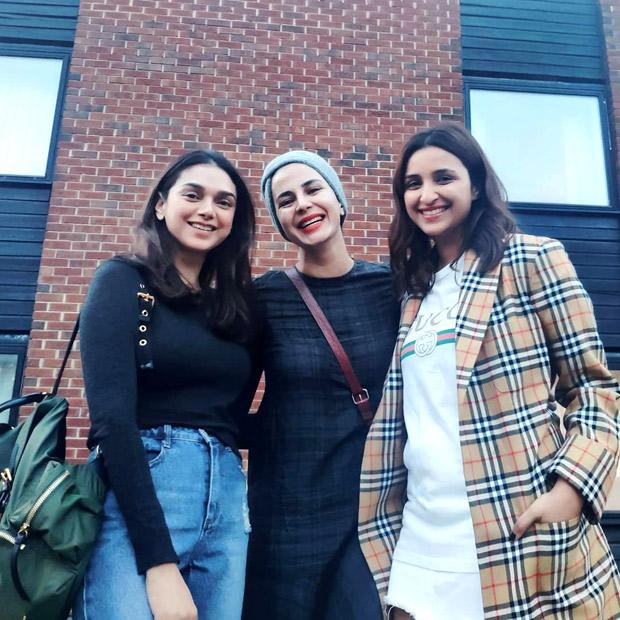 The Girl On The Train: Parineeti Chopra, Aditi Rao Hydari and Kirti Kulhari strike a pose on the sets in London