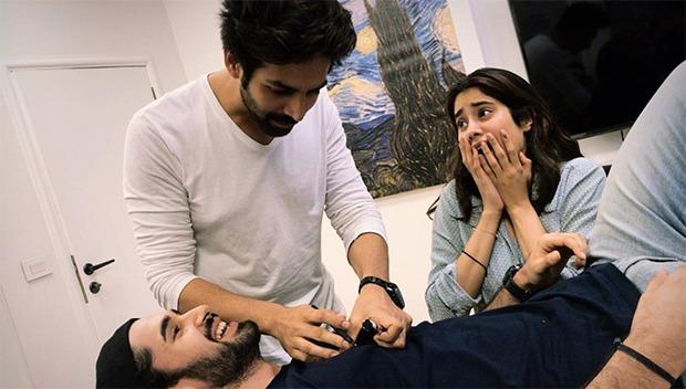 Dostana 2: Kartik Aaryan, Janhvi Kapoor and Lakshya goof around during the prep time