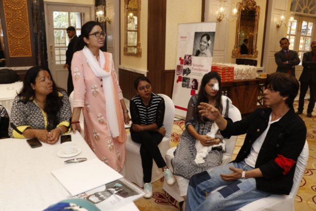 Shah Rukh Khan meets acid attack survivors as a part of the 'Together Transformed' initiative by Meer Foundation