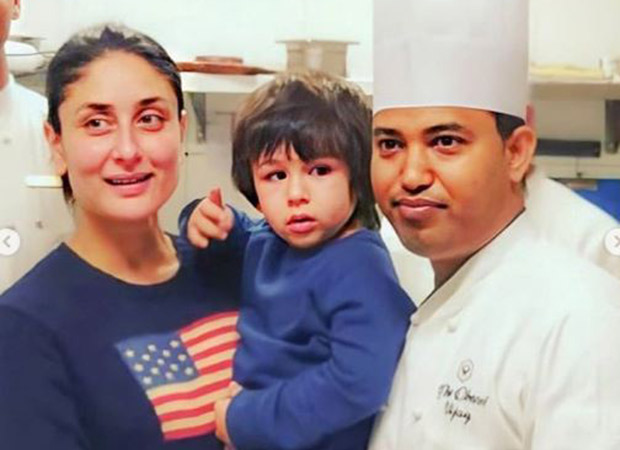 Kareena Kapoor and Taimur Ali Khan pose in matching apron and chef's hat as they attend a cooking class