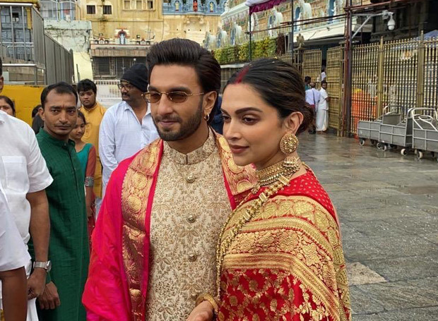 Happy Anniversary DeepVeer Ranveer Singh and Deepika Padukone look REGAL as ever they twin in regal and gold outfits during Tirumala temple visit