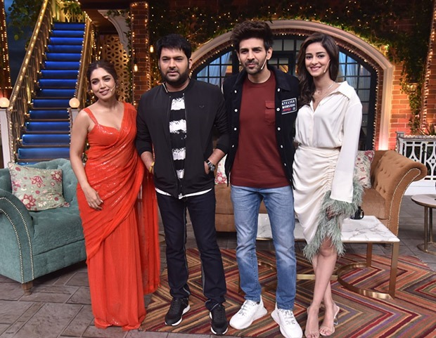The Kapil Sharma Show - Kartik Aaryan was rewarded kisses after shooting 'Dheeme Dheeme' song with Ananya Panday and Bhumi Pednekar
