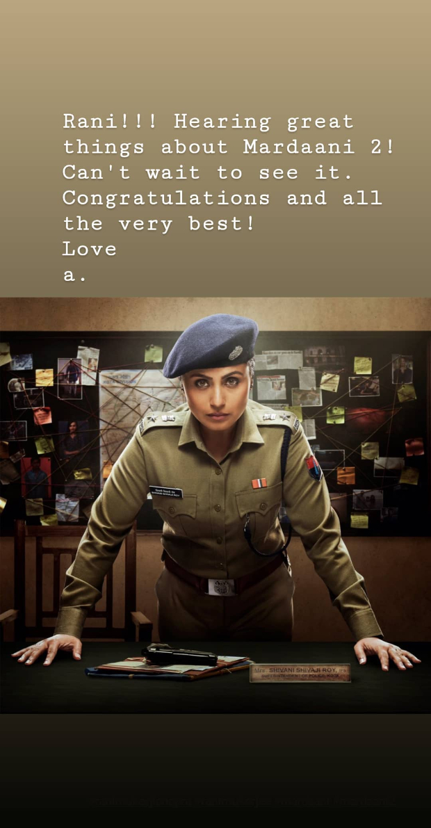 Aamir Khan congratulates Rani Mukerji on the success of Mardaani 2; says he can't wait to watch it