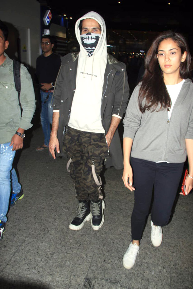Jersey actor Shahid Kapoor hides his face from paparazzi after getting 13 stitches, arrives back in Mumbai