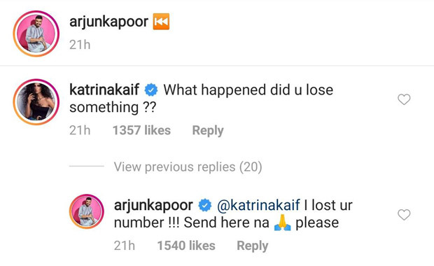 Arjun Kapoor's hilarious reply to Katrina Kaif's comment on his photo has us laughing