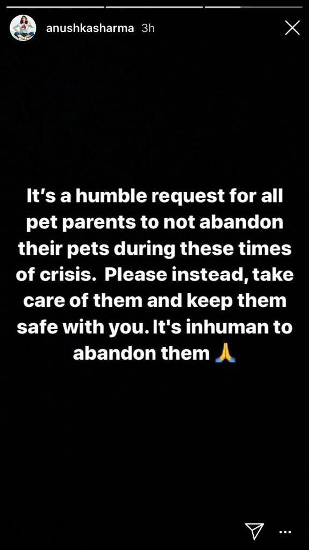 Anushka Sharma requests people to not abandon their pets amid rising coronavirus concerns!