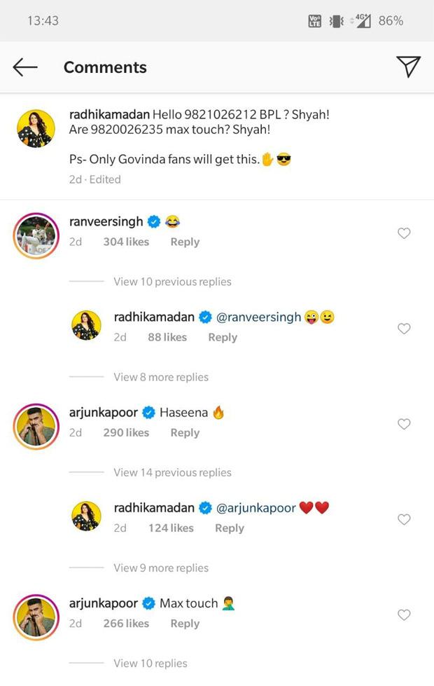 Radhika Madan channels her inner Govinda leaving Ranveer Singh and Arjun Kapoor in hysterics