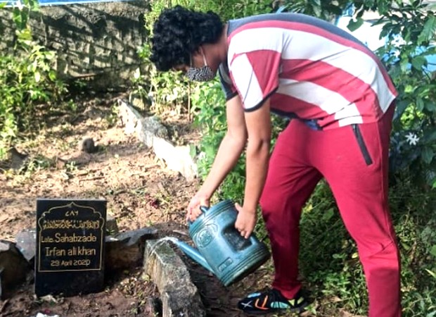 """Babil Khan tends to father Irrfan Khan's grave, says, """"And the plants have grown may be for a purpose look closely"""""""
