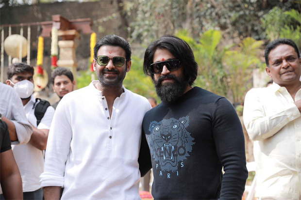 Salaar: Prabhas and Yash strike a pose at the grand launch event of the film