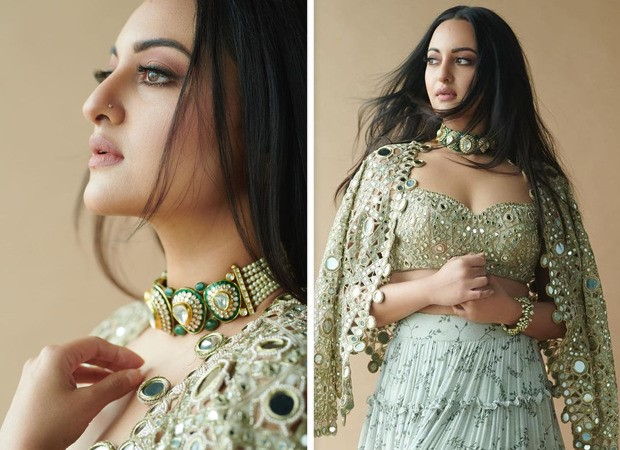 Sonakshi Sinha's modern elegant skirt and pearl mirror jacket from Arpita Mehta's collection is worth over Rs. 1.54 lakhs