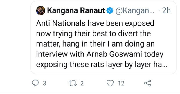 Rohit Sharma, Arnab Goswami, Anti-Nationals! Two of Kangana Ranaut's tweets deleted as it violated Twitter rules