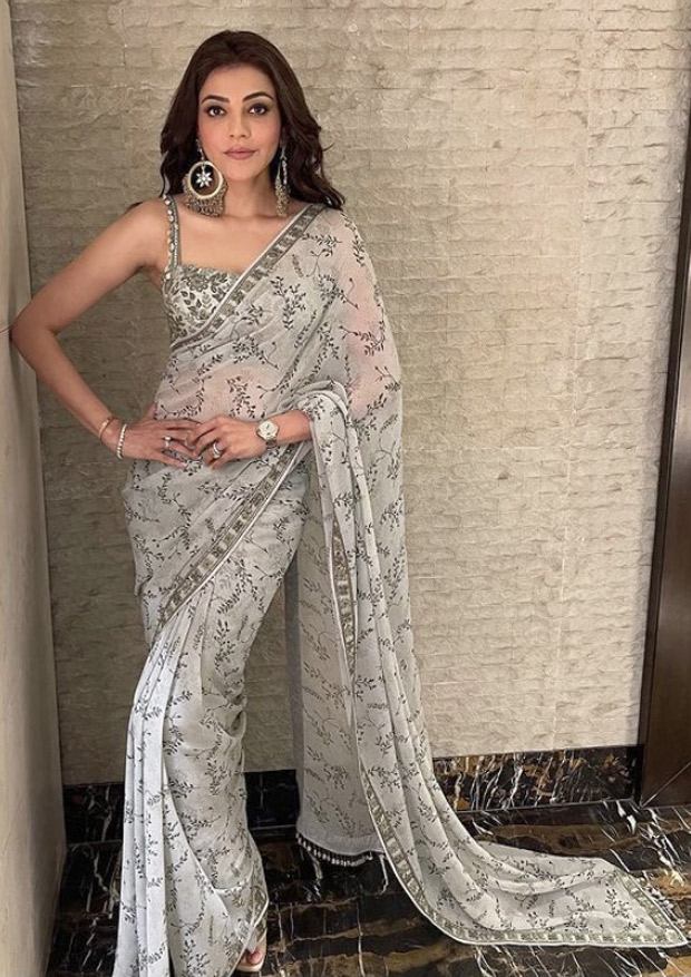 Kajal Aggarwal looks radiant in Arpita Mehta's olive green saree worth Rs. 62,000 for promotions of Mosagallu