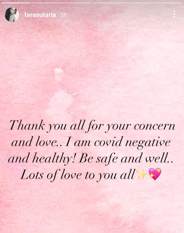 Tara Sutaria confirms she has tested negative for COVID-19