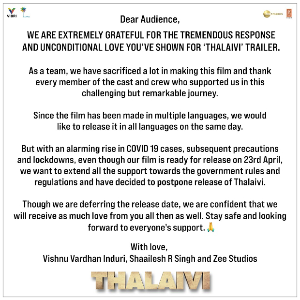 Kangana Ranaut starrer Thalaivi release postponed owing to rise in COVID-19 cases