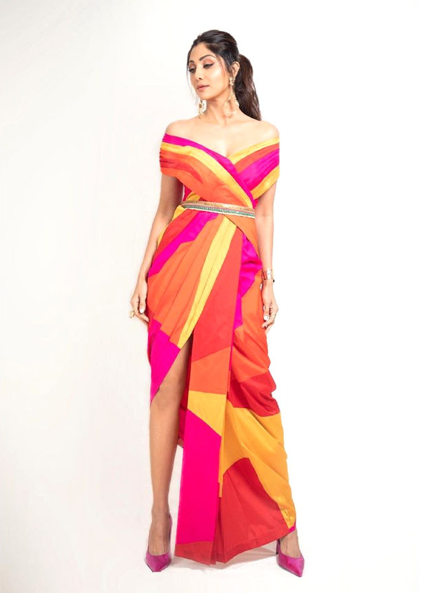 Shilpa Shetty gives notes on how to colour block this summer in thigh-high slit pant saree worth Rs. 28,500