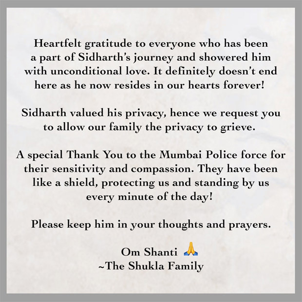 Sidharth Shukla's family releases official statement post his cremation