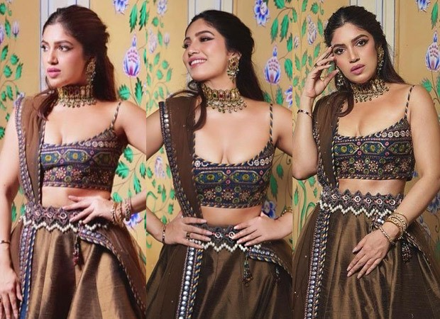 Bhumi Pednekar dazzles in festive spirit as she dons a brown lehenga with vibrant details