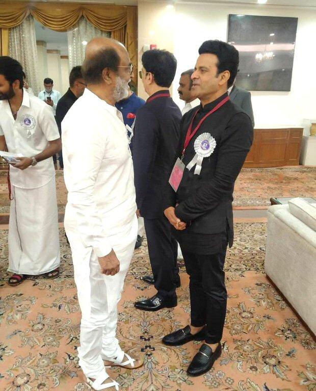 Manoj Bajpayee shares photos from the 67th National Film Awards with Rajinikanth and Dhanush